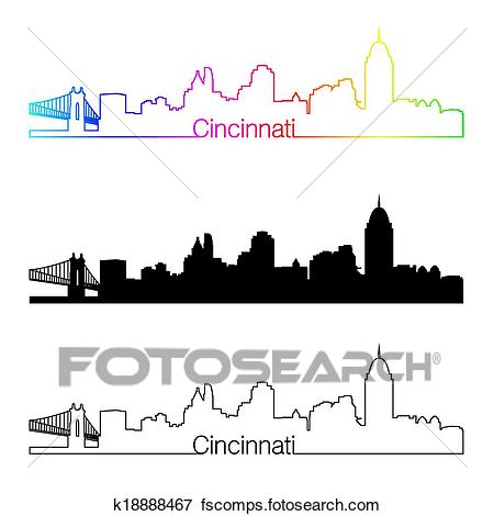 450x470 Clipart of Cincinnati Ohio city skyline vector silhouette