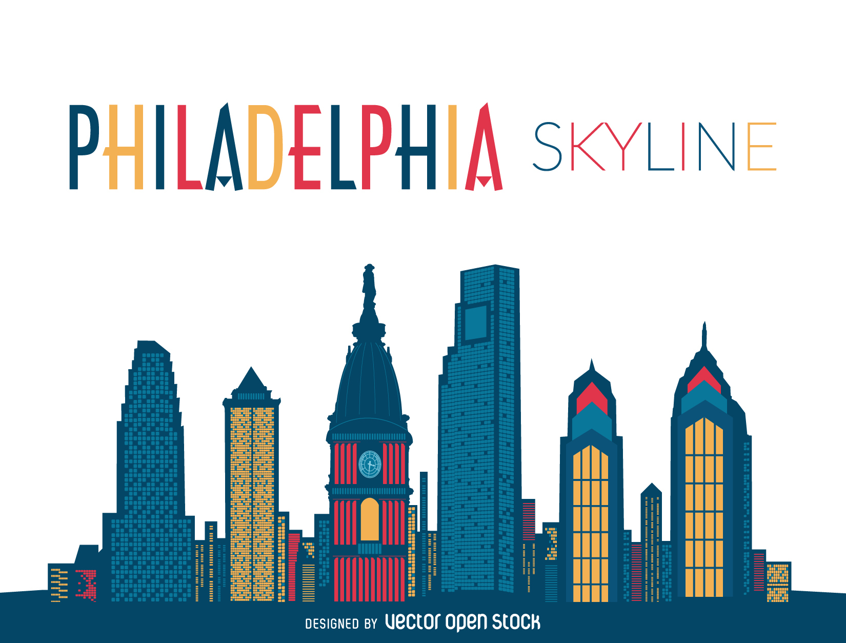 1650x1254 Modern and flat illustration featuring Philadelphia skyline with
