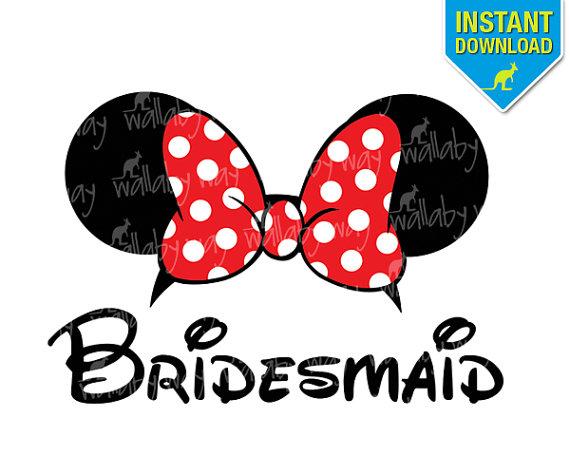 570x456 Disney Bridesmaid Minnie Ears Printable Iron On Transfer or