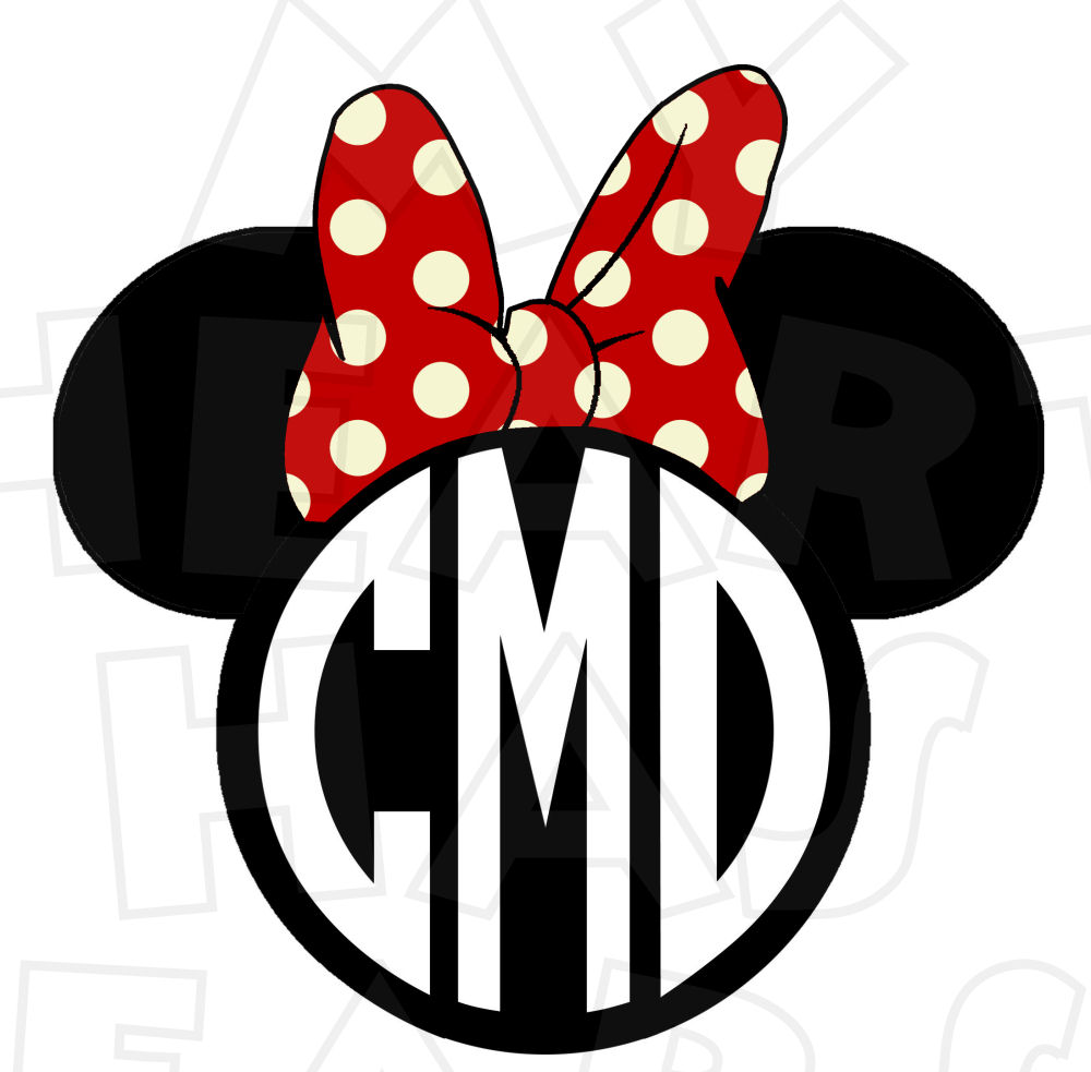 1000x983 Monogram Minnie Mouse Ears Heads Personalized Initials Digital