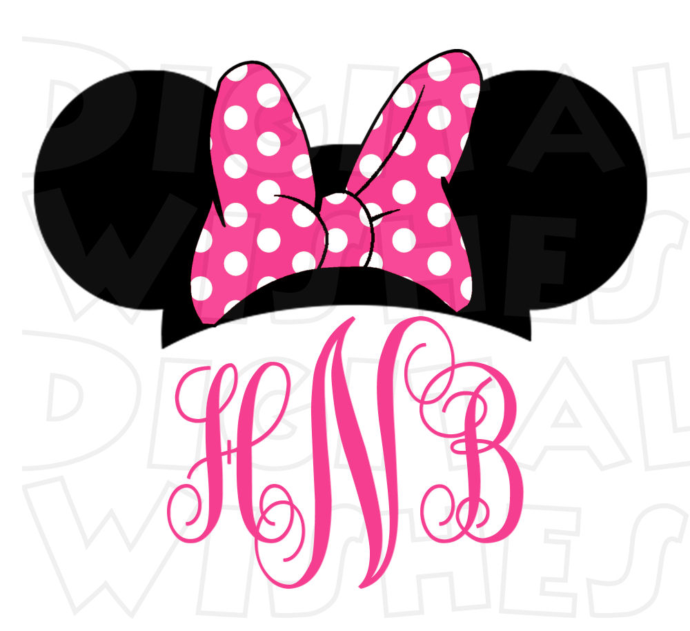 1000x914 Monogram Minnie Mouse Ears Pink Or Red Personalized Initials