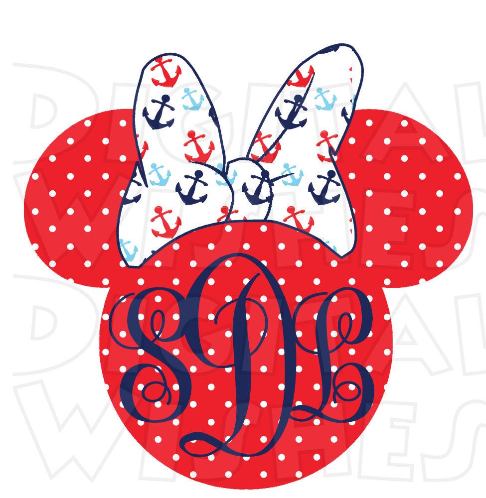 975x1000 Monogram Nautical Disney Cruise Minnie Mouse ears heads