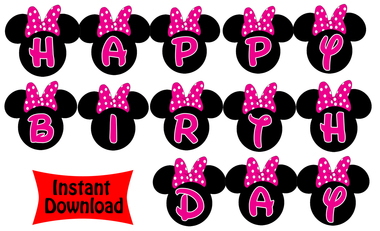 380x231 Disney Minnie Mouse Hot Pink Birthday Banner
