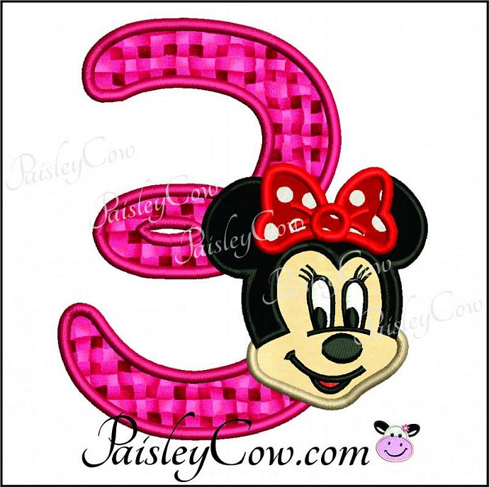 690x687 Minnie Mouse Face Number 3 Three Third Birthday By Paisleycow