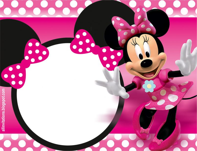 805x618 Colors Minnie Mouse 1st Birthday Personalized Invitations In