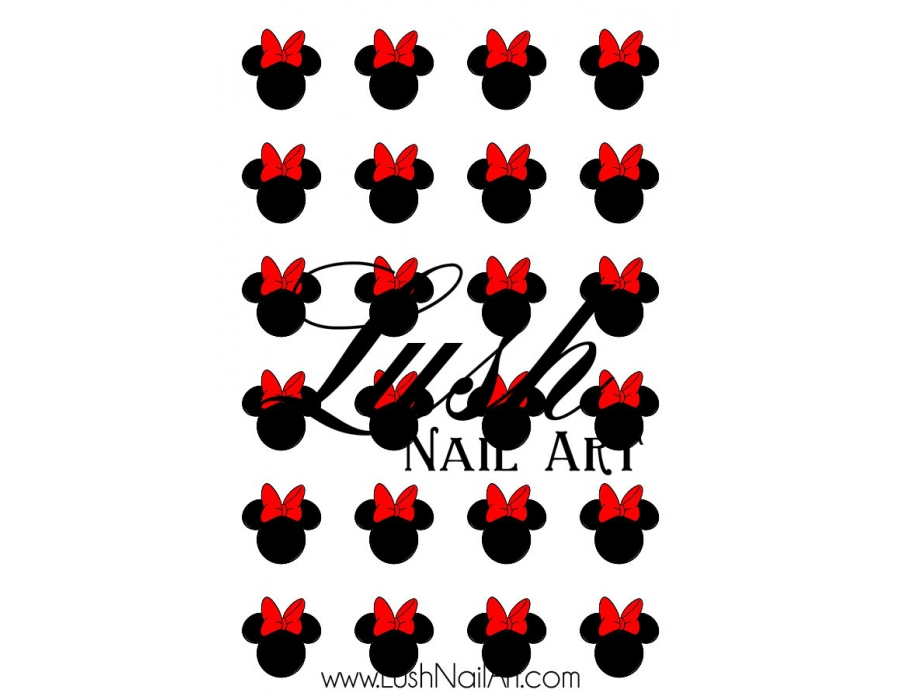 900x700 Mouse Ears With Red Bow Disney Nail Art Water Transfer Decal