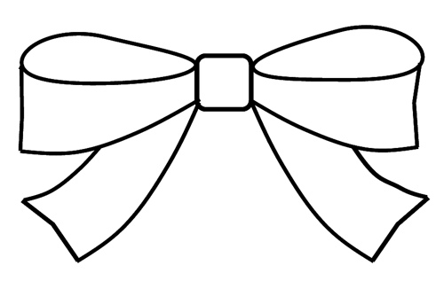 500x317 Bow Clipart Outline To Colour, 15cm Wide