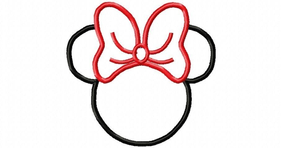 910x480 Minnie Mouse Face Clipart Outline