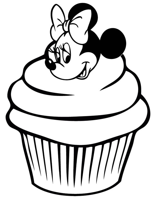 600x776 Cute Minnie Mouse Cupcake Coloring Page