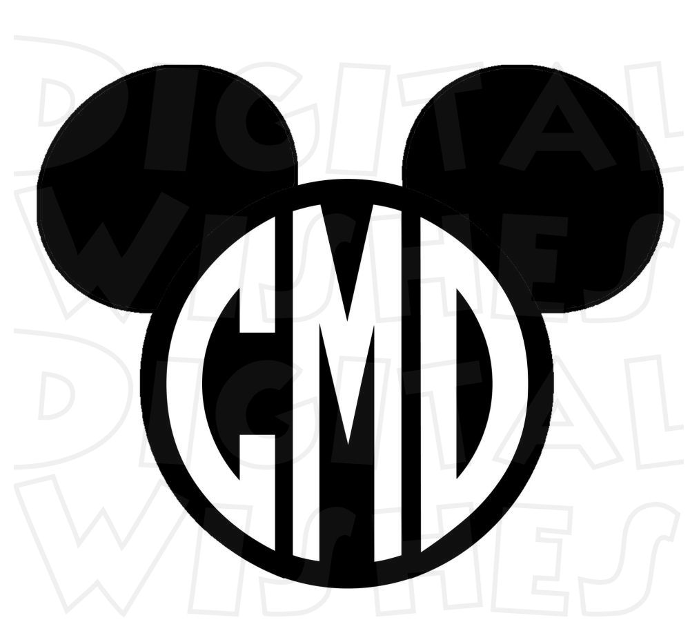 1000x914 Monogram Mickey Mouse ears heads PERSONALIZED initials digital