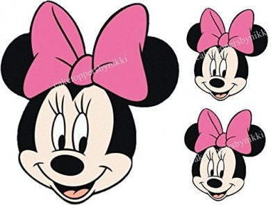 390x295 Edible Pink Bow Minnie Mouse Face Amp 2 Smaller Faces Girls Uncut