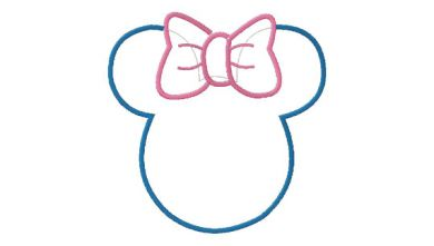 390x221 Applique Disney Minnie Mouse Ears Head Machine Embroidery Design