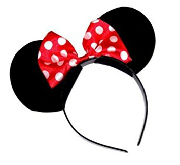 355x327 Black Minnie Mouse Ears On Head Band With Red Bow ,perfect Fancy
