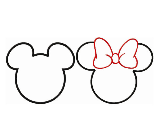 570x488 Mickey And Minne Mouse Ears Head Applique Disneyland