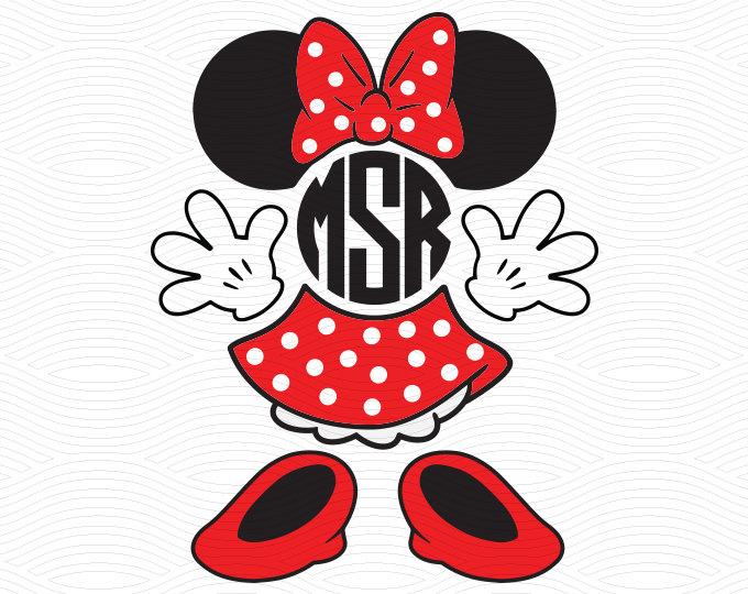 680x540 Minnie Mouse Monogram Set (Svg, Eps, Dxf, Studio3) Mouse Ears Cut