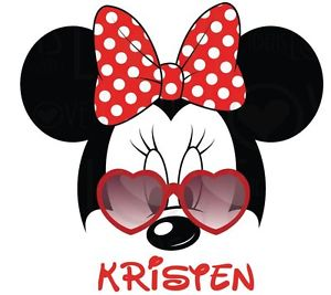 300x267 Disney Minnie Mouse Personalized Sunglasses Shirt Iron On Transfer