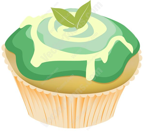 600x552 Mint Green Swirled Icing Decorated Cupcake With Mint Leaves On Top