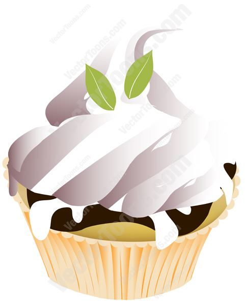 481x600 Chocolate And Vanilla Marble Cupcake With White Icing And Mint