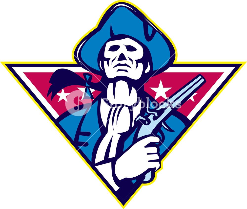 1000x845 American Patriot Minuteman Flintlock Pistol Royalty Free Stock