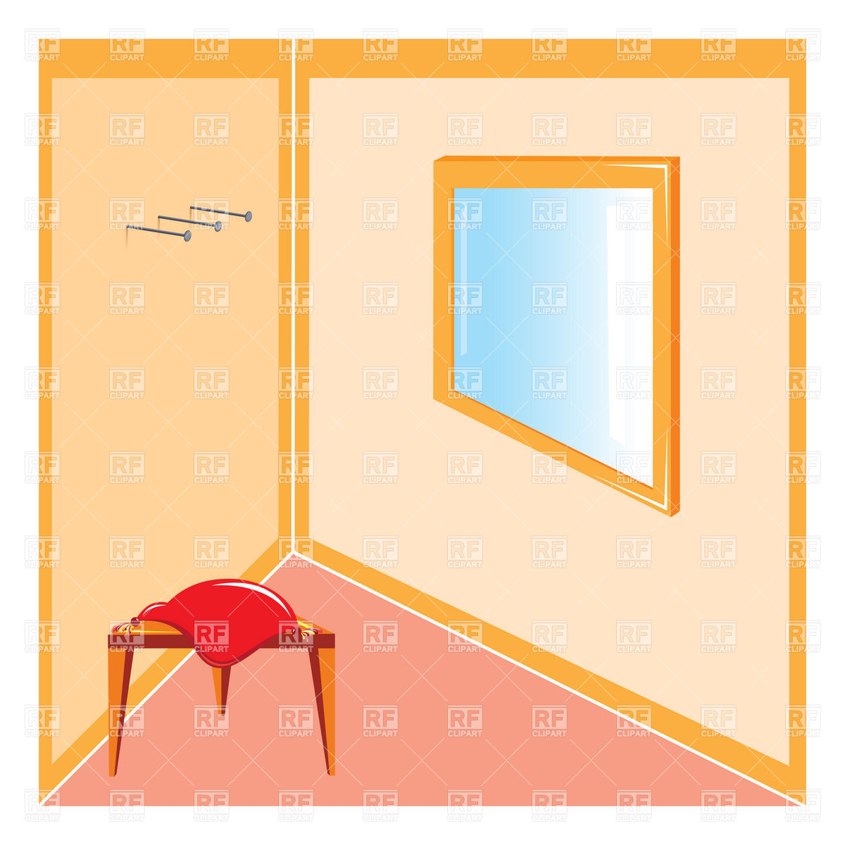 1200x1200 Corner Of The Room With Stool And Mirror Royalty Free Vector Clip
