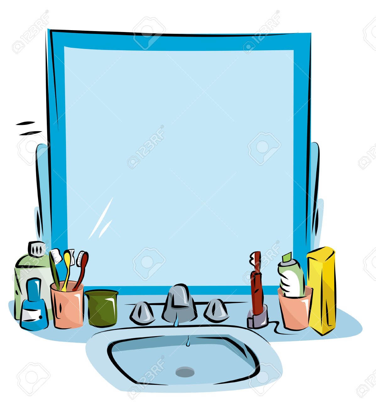 1197x1300 Cozy Bathroom Sink Clipart Mirror Cleaning Pencil And In Color