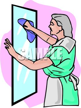 263x350 Maid Cleaning A Mirror