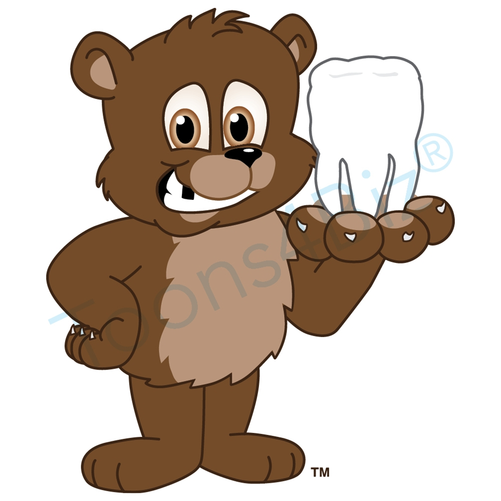 1000x1000 Bear Mascot With A Missing Tooth Clip Art