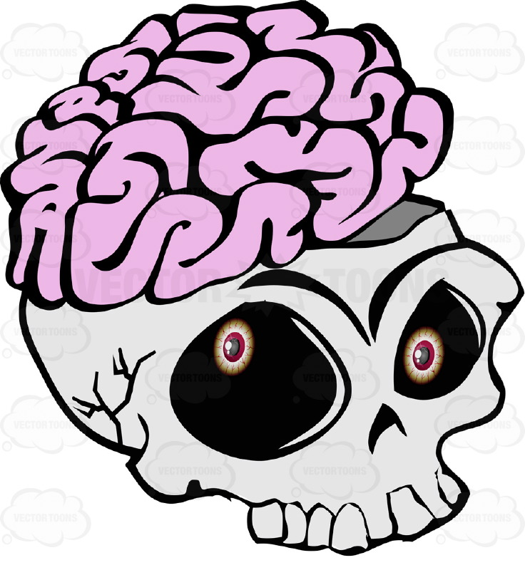 736x800 Cartoon Skull Open Showing Exposed Brain Overflowing Missing Lower