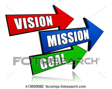 450x357 Clip Art Of Vision, Mission, Goal In Arrows K13659082