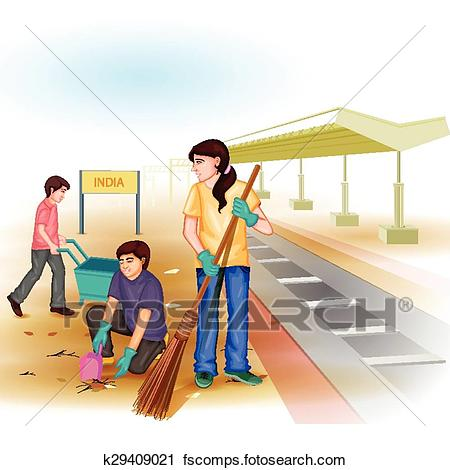 450x470 Clipart Of Clean India Mission K29409021