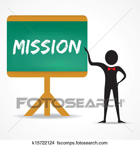 450x470 Clipart Of Man Points To Mission Word On Board K15722124