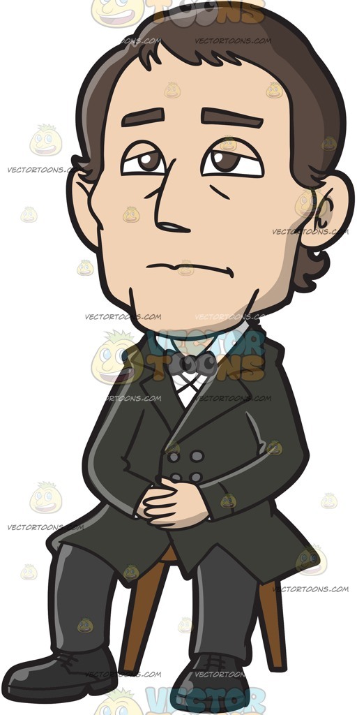 512x1024 A Somber Male Missionary Cartoon Clipart