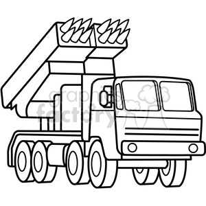 300x300 Royalty Free Military Armored Mobile Missle Launch Vehicle Outline