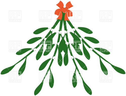 500x380 Mistletoe With Red Ribbon Royalty Free Vector Clip Art Image