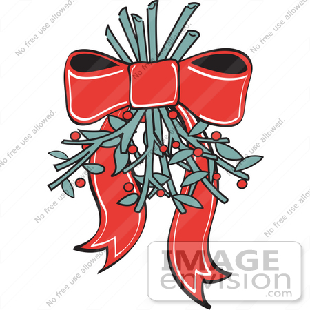 450x450 Royalty Free Cartoon Clip Art Of A Red Ribbon Hanging Mistletoe
