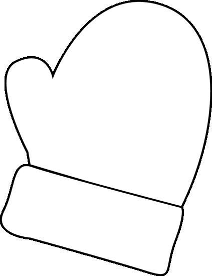 423x550 Black And White Mitten Clip Art