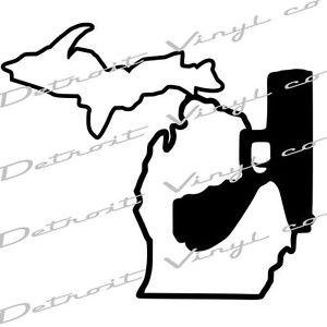 300x300 Michigan Holding Gun W Up , Murder Mitten, Michigan Pistol Decal