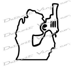 300x300 Michigan Holding Gun Revolver, Michigan Mitten Pistol Decal