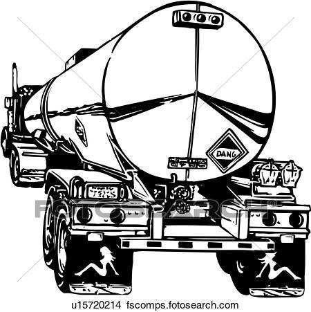 450x451 Clipart Of Illustration, Lineart, Tanker, Truck, Oil, Gas