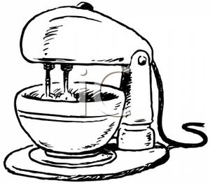 300x262 Black And White Stand Mixer Clipart Image