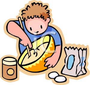 300x282 Picture A Boy Making Cookies And Mixing The Batter