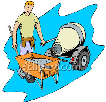 350x335 Royalty Free Clip Art Image Contracter Mixing And Pouring Cement