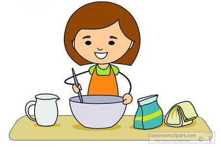 450x300 Kitchen Girl Making Mixing Baking Ingredients Clipart