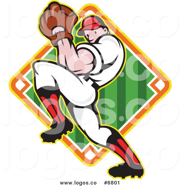 600x620 Royalty Free Clip Art Vector Logo Of A Baseball Player Pitching