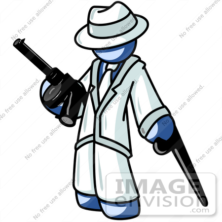 450x450 Cliprt Graphic Of Blue Guy Character In The Mafia, Holding