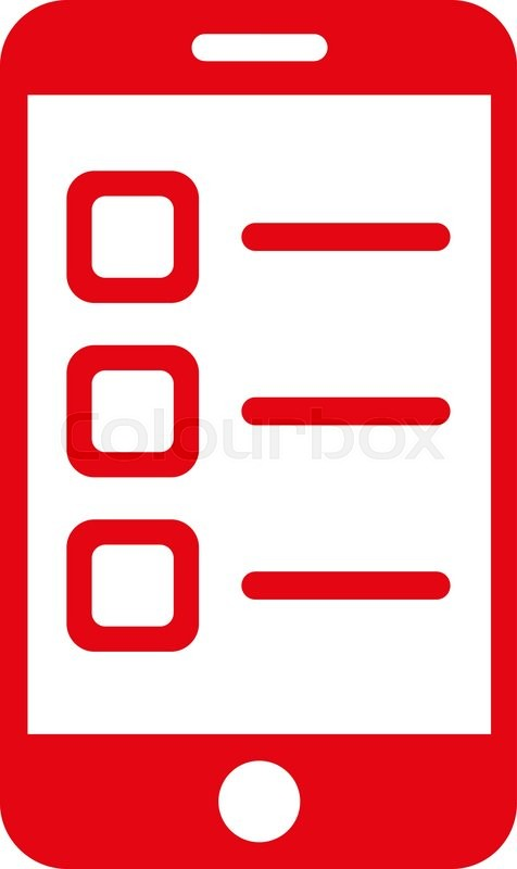 476x800 Mobile List Vector Icon. Style Is Flat Symbol, Red Color, Rounded
