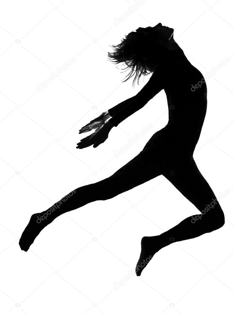 765x1024 Silhouette Woman Modern Dancer Dancing Jumping Exercising Worko