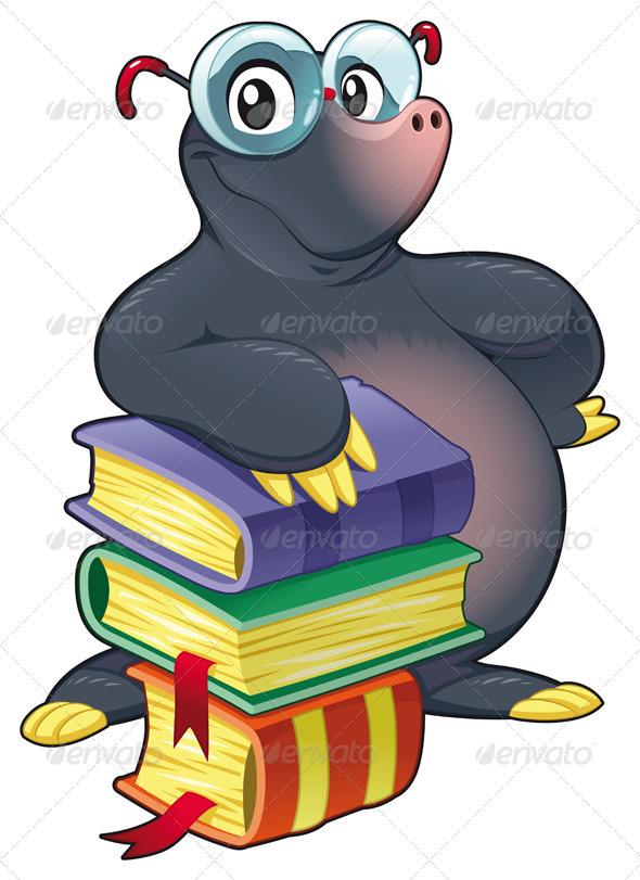 590x811 Mole With Books Mole, Font Logo And Books