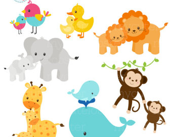 340x270 Pastel Mom And Baby Animals Clipart Set Clip Art Set Of Cute
