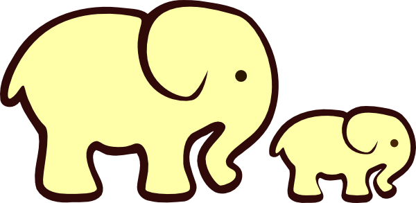 600x293 Yellow Elephant Mom Amp Baby Clip Art